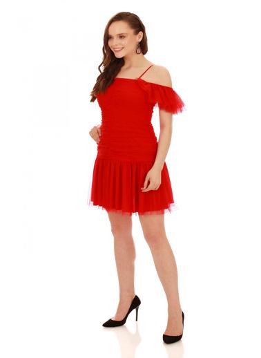 6ixty8ight Kırmızı Drapeli Tüllü Kısa Abiye Elbise Kırmızı